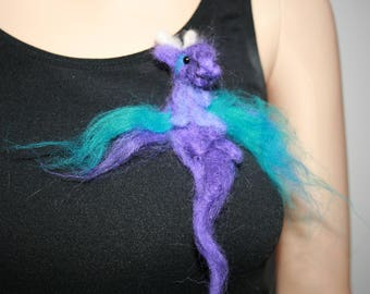 Needle Felted Dragon Brooch. One of a kind OOAK Wearable Art. Ready to send. Great Gift!