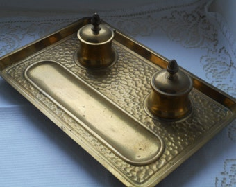 stunning rare vintage French solid brass inkwell