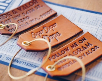 Leather Luggage Tags w/ Gold Attachment, Personalized Luggage Tags, Custom Luggage Tag, Engraved Luggage Tag, Luggage Tags, Wedding Favors!