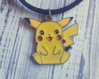 "Pikachu Charm Choker Necklace (Pokemon) 15"" - Choose Your Own Color"