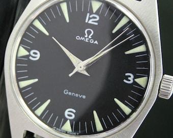 Omega Geneve Winding Black Dial 1970s Vintage Steel Mens Wrist Watch (12011)