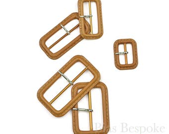 Caramel-Colored Leather Buckles with Silver Pins, Made in Italy