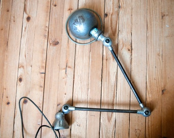 Lamp Jieldé industrial - Vintage workshop light 50s - French articulated lamp with two arms - Factory lamp in metal - Desk lamp - Architect