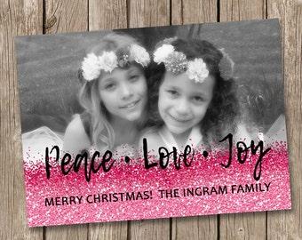 Peace Joy and Love Christmas Card