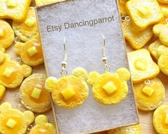 Bear pancake earrings Handmade food earrings Pancake jewelry Breakfast jewelry Food jewelry Kawaii earrings Cute gift for girls and women