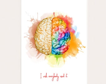Use your brain. colorful art print