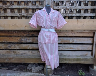 Vintage 1980's Pink Striped Cotton and Polyester IMPROMPTU Dress Candy Stripe Uniform Deadstock / New / Never Worn