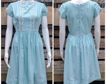Vintage 1950's Aqua Robin's Egg Blue Cotton Summer Dress With Button Detail