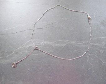 dainty silver lariat necklace, y necklace silver, dainty choker lariat, lariet necklace, hexagon necklace, geometric jewelry