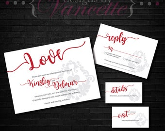 Damask Wedding Invite, Script Wedding Invite, Damask Wedding Invitation, Script Wedding Invitation, Damask and Script Wedding Invite