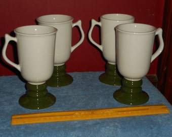 Hall Irish Coffee Mugs (4) Vintage HALL USA 1273 Ceramic Mugs Dark Evergreen Mid Century American Pottery Mugs Kitchen Hot Chocolate Mugs