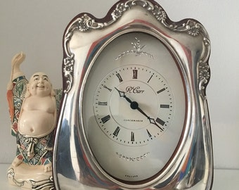 Silver mantle clock R. Carr