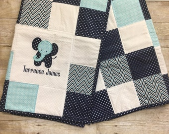 Elephant Baby Quilt with appliqué and name, Boy Baby Quilt, Baby Quilt, Keepsake baby quilt, embroidered baby quilt, Personalized Baby Quilt