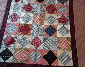 Quilt, vintage and new fabrics, custom quilted