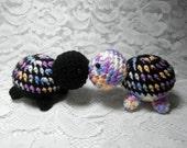 Tiny Crochet Turtles  Stocking Filler Knit Stuffed Animal Plushie Cute Black Purple Rainbow Mini Pretend Play Bead Eye Turtle Wildlife Toy