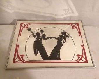 Mirror old drawing shadows dancers Vintage Metal framework