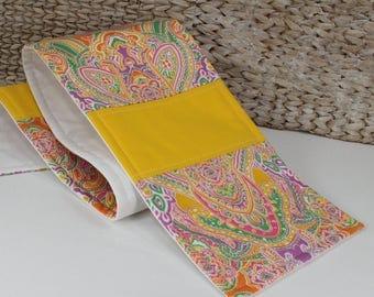 Table runner, quilted fabric runner, yellow tablerunner, skinny buffet runner, narrow dresser scarf, multicolor table linen, size 6x36