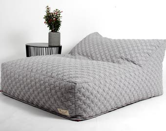 BeanBag chair for the living room , quilted fabric ,Gray beanbag,Adults beanbag, Reading seat,love seat beanbag, fancy beanbag XL beanbag