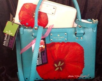 Spring Poppy Kate Spade Bag and Wallet hand painted leather