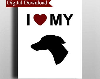 I Love My Whippet Dog Silhouette DIGITAL Print Download