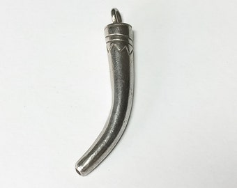 """Hill Tribe Sterling Silver Tusk Pendant 1 1/2"""""""