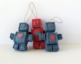 Felt Robots with Heart Ornaments