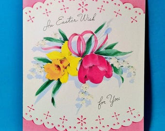 Vintage Gartner and Bender, Inc. Easter Greeting Card An Easter Wish For You Collectible Old Springtime Greeting Cards