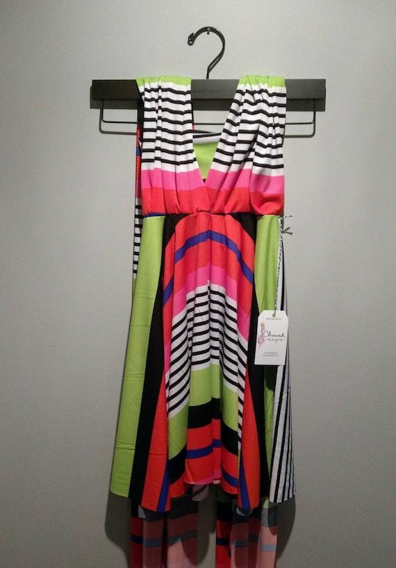 SALE : Girls Convertible Striped Dress
