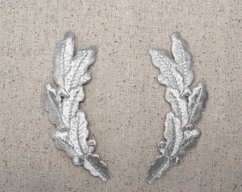 Silver - Pair - Scrambled Eggs - Military Uniform - Iron on Applique - Embroidered Patch - 693230S