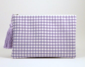 Gingham Clutch Bag Wristlet, lilac purple gingham check zip pouch