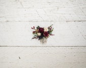 Mini Hair combs floral marshal burgundy flowers wedding comb bridal hair fashion accessories barn wedding woodland style