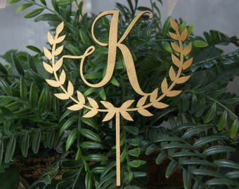 Personalized Monogram Wedding Cake Topper, Rustic Chic, Name Initial Letter Cake Topper for Any Occasion: Wedding, Anniversary, Birthday