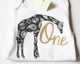 First Birthday Onesie, Gold First Birthday, First Birthday Shirt, Giraffe Birthday Baby,  Boho Baby Clothes, Gold Letter Onesie