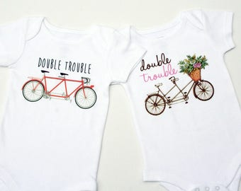 Twin Onesie / Cute Twin Clothes / Twin Shirts / Twin Clothing / Baby Twins / Twins Baby Shower Gift / Double Trouble / Gifts for Twins
