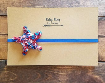 Red, white, and blue star newborn headband, patriotic baby headband, newborn bows, photo prop, baby girl shabby flower headband