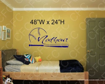 Personalize Baseball With Name Wall Decal 3, Personalized Vinyl Decal,Sports Wall Decal,custom Wall decal,vinyl decal ,wall art,