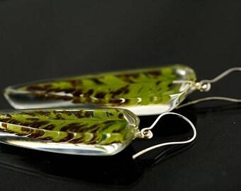 Fern Leaf earrings, Fern Earrings, Fern Resin Jewelry, Autumn Resin Earrings, Real Plant Jewelry, Birthday Gift, Unique Fern Jewelry