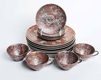Dorothy C. Thorpe Copper Gold Dinnerware Set - Rare!