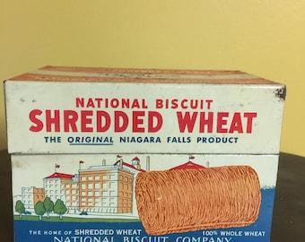 Vintage 1973 Nabisco Shredded Wheat Metal Recipe Box, Primitive ,Country Kitchen Decor
