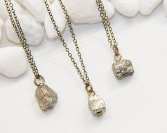 Pyrite Necklace, Geometric Stone Necklace, Raw Gemstone Necklace, Iron Pyrite Cube Necklace, Pyrite Nugget Necklace, Layering Necklace