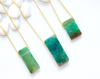 Green Stone Necklace, Agate Jewelry, Green Agate Necklace, Emerald Stone Necklace, Green Rectangle Stone Necklace, Gemstone Jewelry
