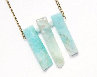 Light Blue Stone Necklace, Amazonite Necklace, Gorgeous Stone Necklace, Raw Stone Necklace, Geometric Stone Necklace, Calming Stone Necklace