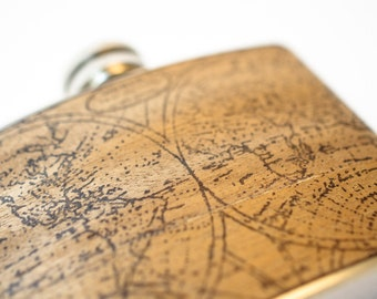 Gift for Him : Real Mahogany Wood flask - World Map, nautical gift, globe, vintage map, old fashion, traditional gift, explorer, adventure