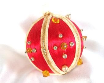 Vintage Beaded Satin Christmas Ornament - Pearls, Yellow Beads, Velvet Ribbon on Red Satin Christmas Ornament