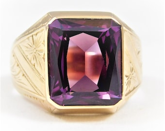 Gents 14kt Yellow Gold 5ct Amethyst Ring