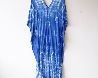 Shibori bird wing Maxi dress.A008 Indigo/Tie Dye/Caftan Maxi Dress/Beach Cover Up/Kaftan