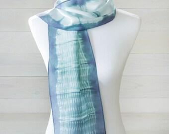 Aqua Blue Shibori Silk Scarf