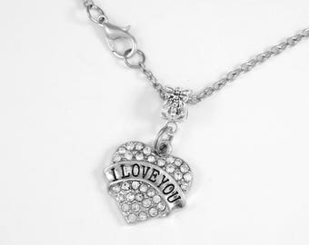 I love you Necklace Crystal heart charm I love you Necklace I love you Jewelry Family Diamond Cut Chain Necklace