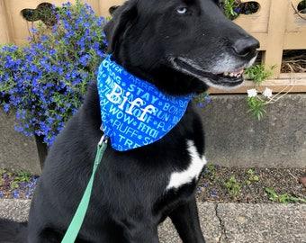 Dog Scarf, Personalized Blue Reversable Dog Bandana
