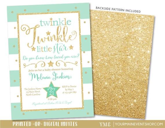 Mint Twinkle Twinkle Little Star Baby Shower Invitation, Twinkle Twinkle Shower Invite, Mint and Gold Star Invitation, Neutral Baby Shower